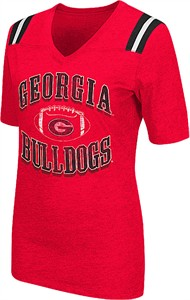 Ladies Georgia Bulldogs Red Artistic Short Sleeve T Shirt
