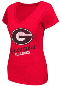 Ladies Georgia Bulldogs Red Tabloid V-Neck Tee Shirt by Colosseum