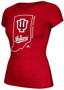 Ladies Indiana Hoosiers Adidas Crimson Clipped State Short Sleeve Tee Shirt