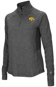 Ladies Iowa Hawkeyes Grey Junior Size Sabre 1/4 Zip Synthetic Pullover Wind Shirt