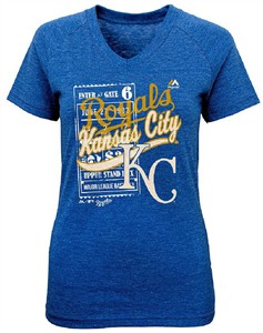 Ladies Kansas City Royals Gnarly Blue Terrorizing Play V Neck T Shirt