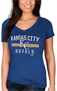 Ladies Kansas City Royals Royal One Game At A Time V Neck Shirt by Majestic