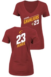 Ladies Lebron James Cleveland Cavaliers Solid Recruit V Neck T Shirt