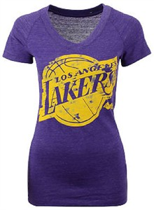 Ladies Los Angeles Lakers Heather Purple Energy Logo V Neck Shirt by Adidas on Sale