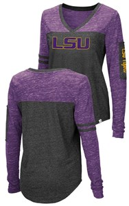 Ladies LSU Tigers Charcoal Stance V Neck Long Sleeve T Shirt