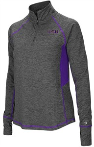 Ladies LSU Tigers Grey Junior Size Sabre 1/4 Zip Synthetic Pullover Wind Shirt