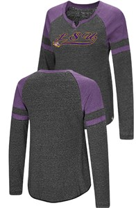 Ladies LSU Tigers Heather Black Bubbilicious Long Sleeve T Shirt