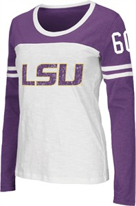 Ladies LSU Tigers Scoop Neck Long Sleeve Hornet T Shirt by Colosseum
