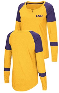 Ladies LSU Tigers Gold Smaller Fit Dorothy Long Sleeve Raglan T Shirt