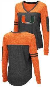 Ladies Miami Hurricanes Charcoal Stance V Neck Long Sleeve T Shirt