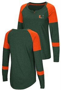 Ladies Miami Hurricanes Green Smaller Fit Dorothy Long Sleeve Raglan T Shirt