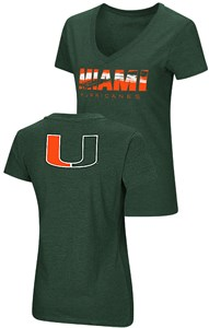 Ladies Miami Hurricanes Green Valuable Commodity SS Tee Shirt