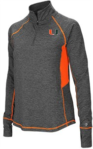 Ladies Miami Hurricanes Grey Junior Size Sabre 1/4 Zip Synthetic Pullover Wind Shirt