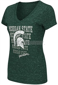 Ladies Michigan State Spartans Green Delorean V-Neck T Shirt