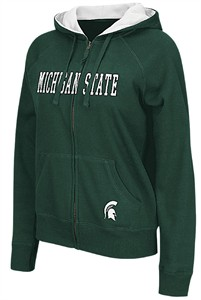 Ladies Michigan State Spartans Green Omega 2 Full-Zip Embroidered Hoodie Sweatshirt