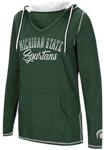 Ladies Michigan State Spartans Green Smaller Sized Scream It V Neck Hoodie Top