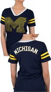 Ladies Michigan Wolverines Blue 2 Sided Rhinestone Short Sleeve T Shirt