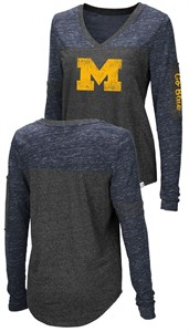 Ladies Michigan Wolverines Charcoal Stance V Neck Long Sleeve T Shirt