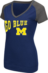Ladies Michigan Wolverines Goalline Synthetic V Neck Short Sleeve T Shirt