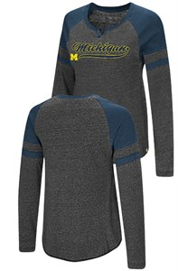 Ladies Michigan Wolverines Heather Black Bubbilicious Long Sleeve T Shirt