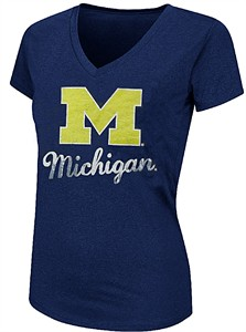 Ladies Michigan Wolverines Heather Blue Offense V-Neck Tee Shirt by Colosseum
