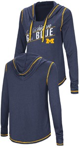 Ladies Michigan Wolverines Junior Sized Blue Synthetic Hooded Pullover Top