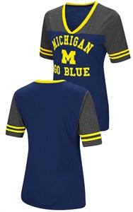 Ladies Michigan Wolverines Smaller Fit Whole Package Synthetic V Neck T Shirt