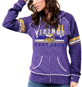 Ladies Minnesota Vikings Tame The Tide Full Zip Hoodie Sweatshirt by Majestic