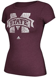 Ladies Mississippi State Bulldogs Adidas Maroon Her Full Color Primary Logo Tee Shirt