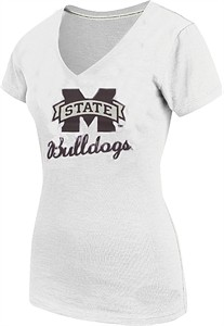 Ladies Mississippi State Bulldogs White Offense V-Neck Tee Shirt by Colosseum
