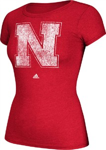 Ladies Nebraska Cornhuskers Adidas Red Her Full Color Primary Logo Tee Shirt