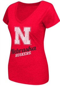 Ladies Nebraska Cornhuskers Red Tabloid V-Neck Tee Shirt by Colosseum