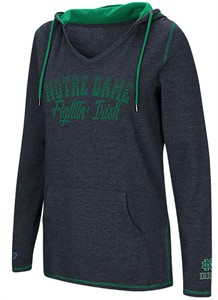 Ladies Notre Dame Fighting Irish Blue Smaller Sized Scream It V Neck Hoodie Top on Sale