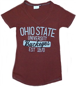 Ladies Ohio State Buckeyes Slouch Tri-Blend V Neck T Shirt By J. America on Sale