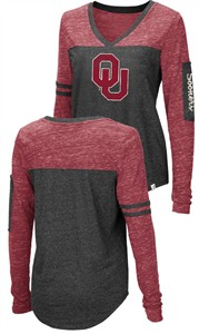Ladies Oklahoma Sooners Charcoal Stance V Neck Long Sleeve T Shirt