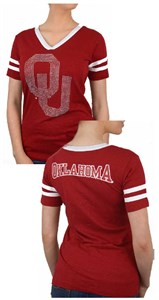 Ladies Oklahoma Sooners Crimson 2 Sided Rhinestone Short Sleeve T Shirt
