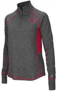 Ladies Oklahoma Sooners Grey Junior Size Sabre 1/4 Zip Synthetic Pullover Wind Shirt
