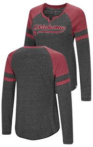 Ladies Oklahoma Sooners Heather Black Bubbilicious Long Sleeve T Shirt
