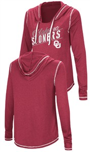Ladies Oklahoma Sooners Junior Sized Crimson Synthetic Hooded Pullover Top