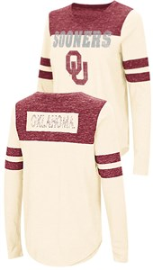 Ladies Oklahoma Sooners Junior Sized Long Sleeve My Way 2 Sided T Shirt