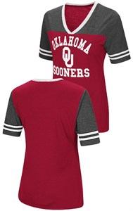 Ladies Oklahoma Sooners Smaller Fit Whole Package Synthetic V Neck T Shirt