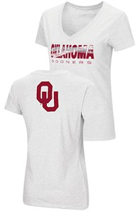 Ladies Oklahoma Sooners White Valuable Commodity SS Tee Shirt