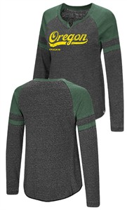 Ladies Oregon Ducks Heather Black Bubbilicious Long Sleeve T Shirt