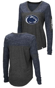Ladies Penn State Nittany Lions Charcoal Stance V Neck Long Sleeve T Shirt