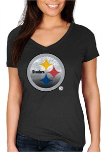 Ladies Pittsburgh Steelers Black Defiant Victory V Neck Short Sleeve T Shirt