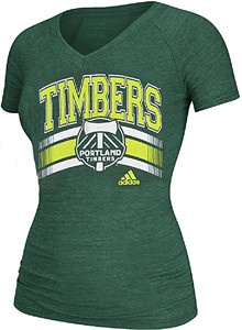 c14645eaf5d65 Ladies Portland Timbers Green Middle Logo V-Neck Tee Shirt by Adidas ...