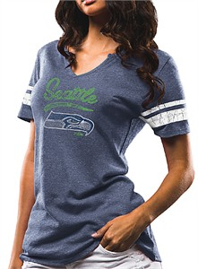 Ladies Seattle Seahawks Navy Game Tradition Notch Neck Tee Shirt