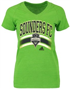Ladies Seattle Sounders FC Green Middle Logo V-Neck Tee Shirt by Adidas