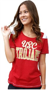 Ladies Southern Cal  Trojans Flapper Glitter Crewneck T Shirt by 289c on Sale