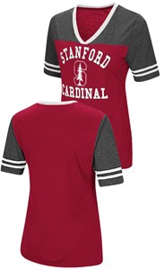 Ladies Stanford Cardinal Smaller Fit Whole Package Synthetic V Neck T Shirt